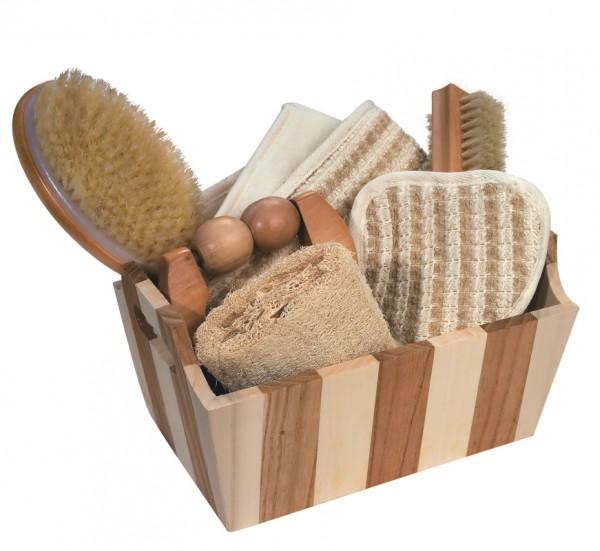 Geschenkset Bad /Sauna Holzbox gestreift